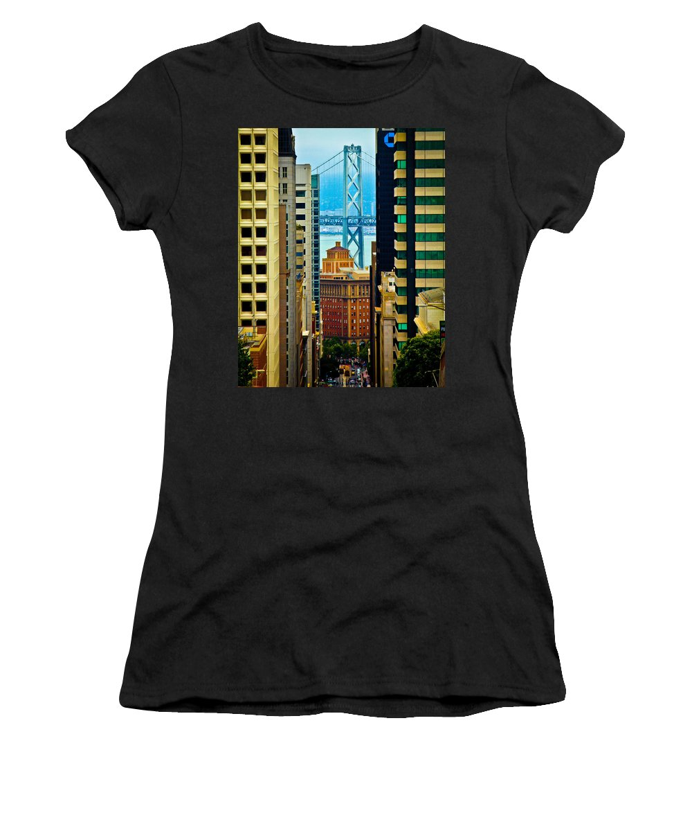 Streets Of San Francisco Women's T-Shirt (Athletic Fit) featuring the photograph Down To The Bay by Digital Kulprits