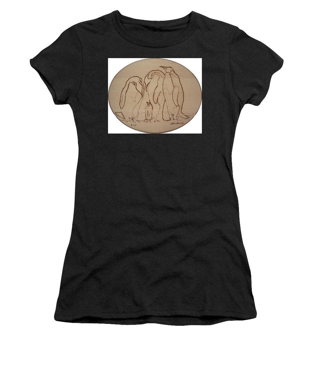 Family Women's T-Shirt featuring the pyrography Emperor Penguins by Sean Connolly