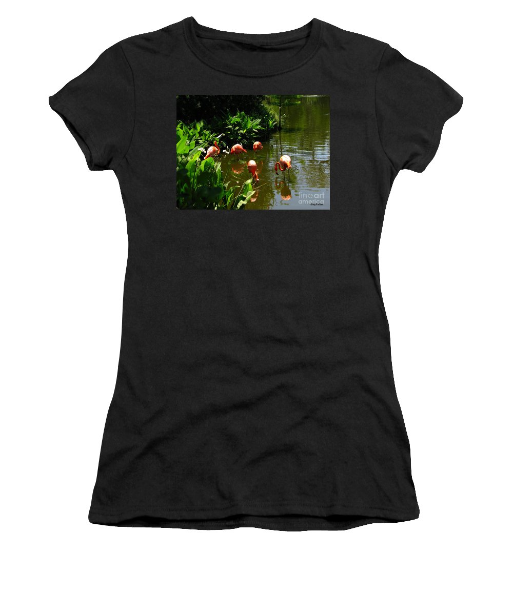 Flamingos Women's T-Shirt (Athletic Fit) featuring the photograph Flamingos by Greg Patzer