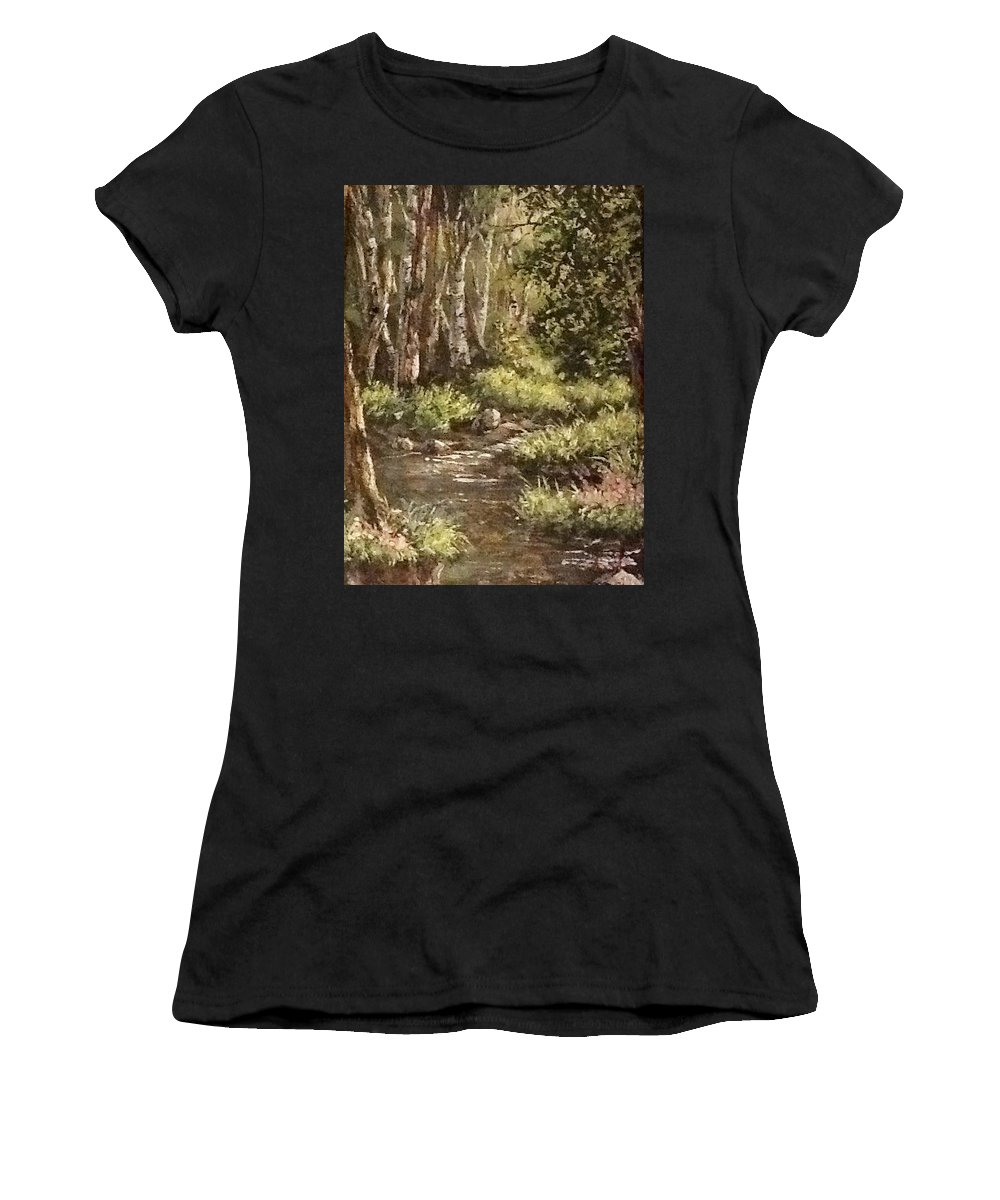 Landscape Women's T-Shirt (Athletic Fit) featuring the painting Forest Stream by Megan Walsh