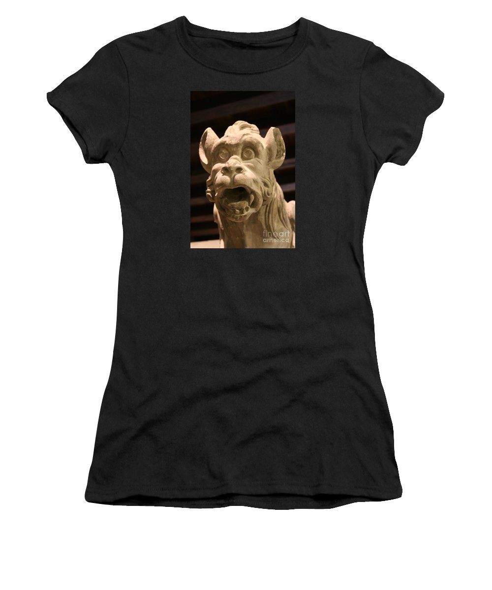 Gargole Women's T-Shirt (Athletic Fit) featuring the photograph Gargoyle by Christiane Schulze Art And Photography