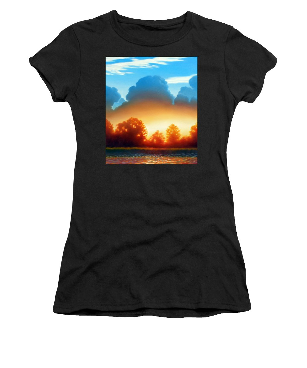 Sunset Women's T-Shirt (Athletic Fit) featuring the painting Glowing by Kevin Lawrence Leveque