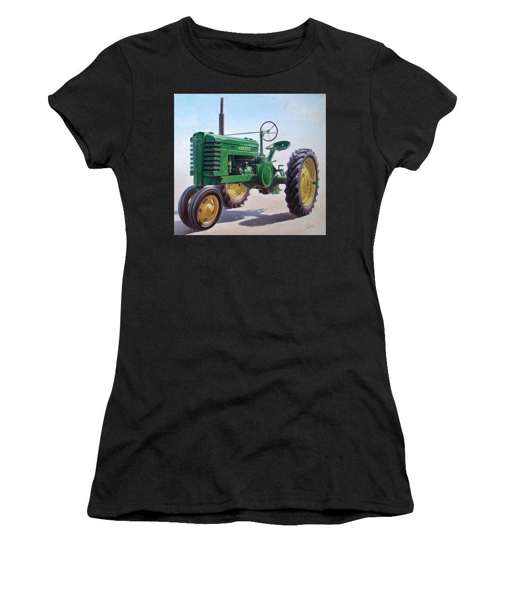 Tractor Women's T-Shirt (Athletic Fit) featuring the painting John Deere Tractor by Hans Droog