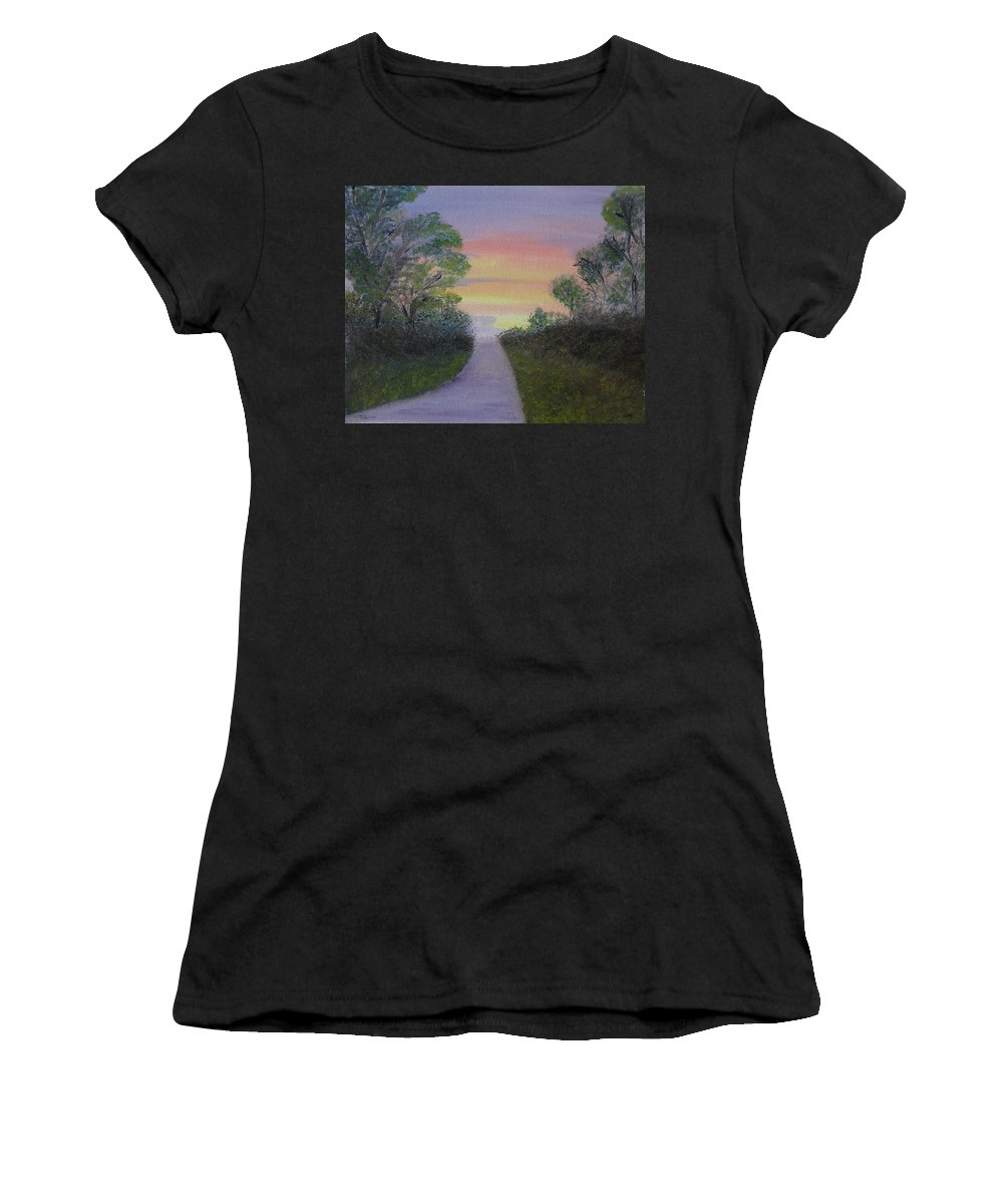 Landscape Women's T-Shirt featuring the painting Light At The Other End by Sayali Mahajan