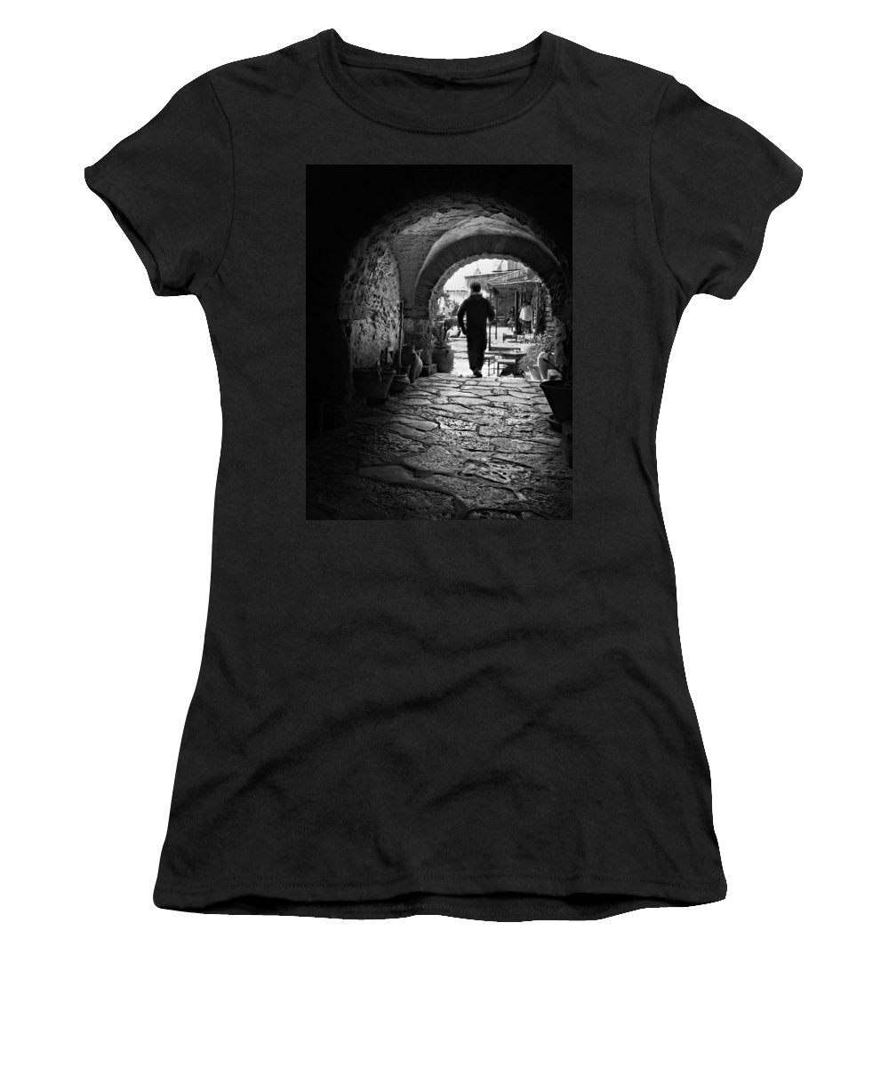 Man Women's T-Shirt featuring the photograph Man In An Archway / Hammamet by Barry O Carroll