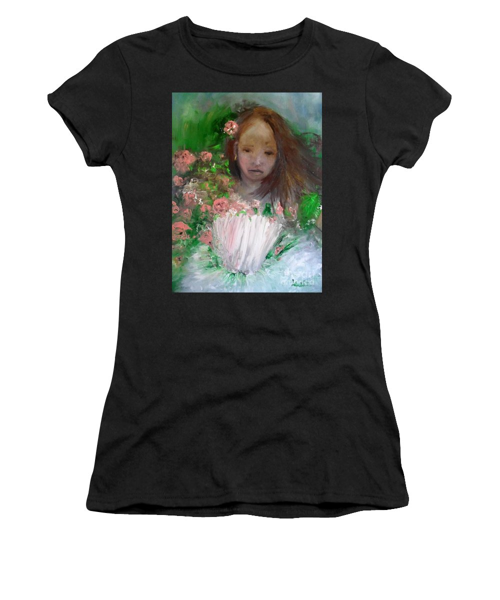 Girl Women's T-Shirt (Athletic Fit) featuring the painting Mary Rosa by Laurie Lundquist