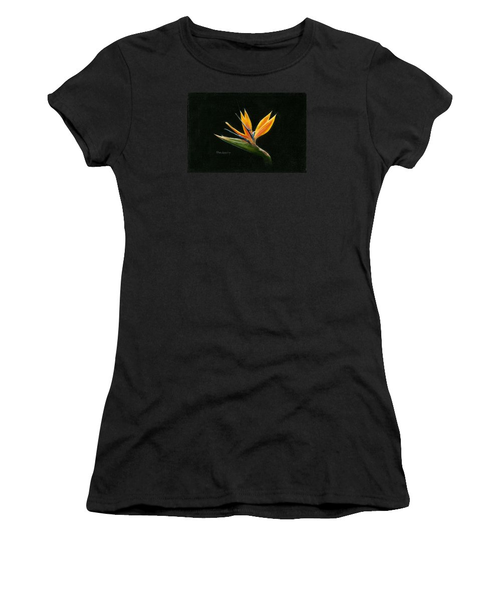 Bird Of Paradise Women's T-Shirt featuring the painting Midnight Paradise by Sherryl Lapping