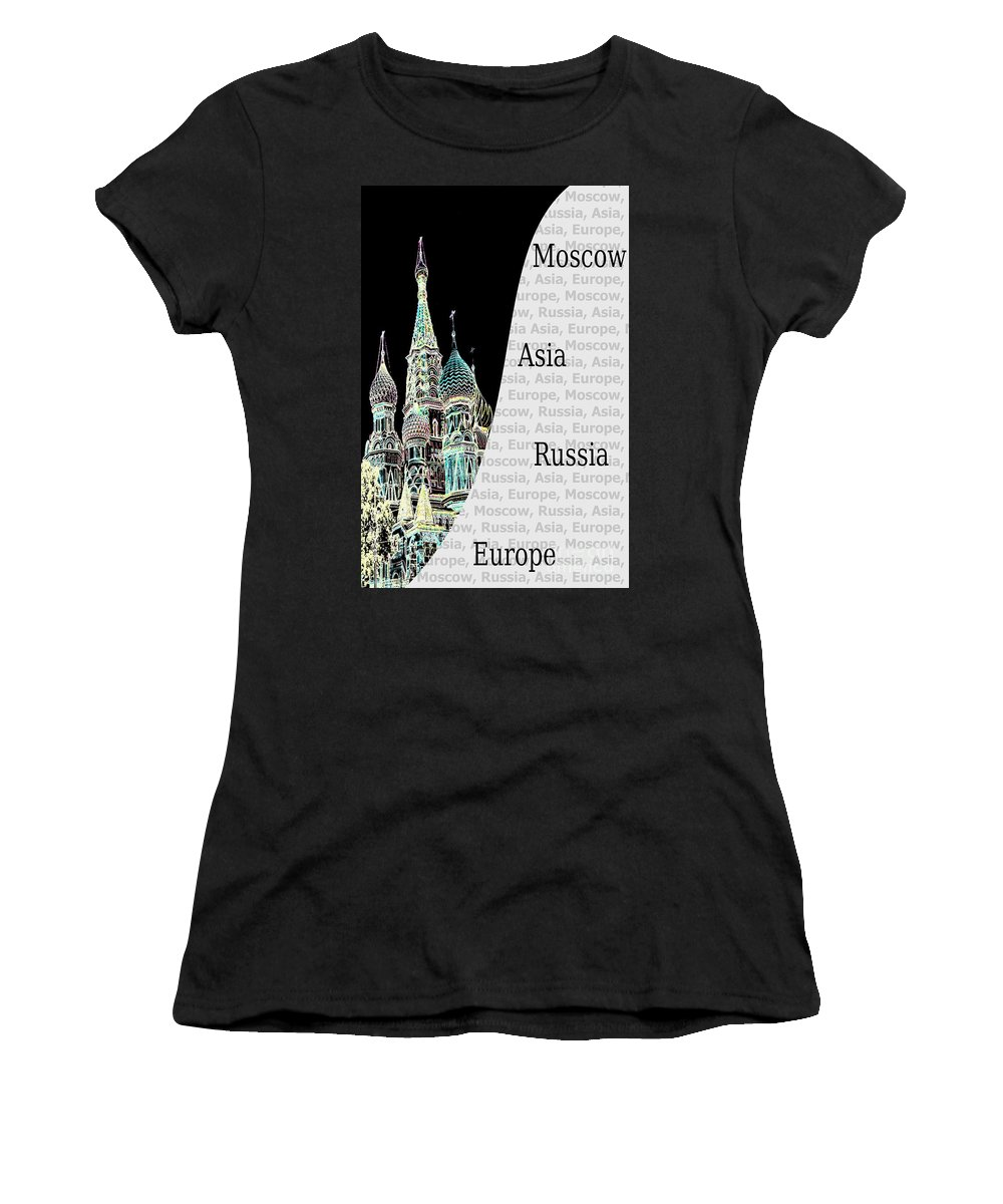 Church Women's T-Shirt featuring the photograph Moscow At Night by Lali Kacharava
