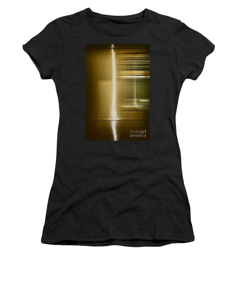 Subway; Side; Train; Car; Transportation; Inside; Indoors; Fast; Moving; Motion; Light; Streak; Window; Empty; New York City; New York; City; Underground; Rail; Window; Metal; Urban Women's T-Shirt featuring the photograph Moving by Margie Hurwich