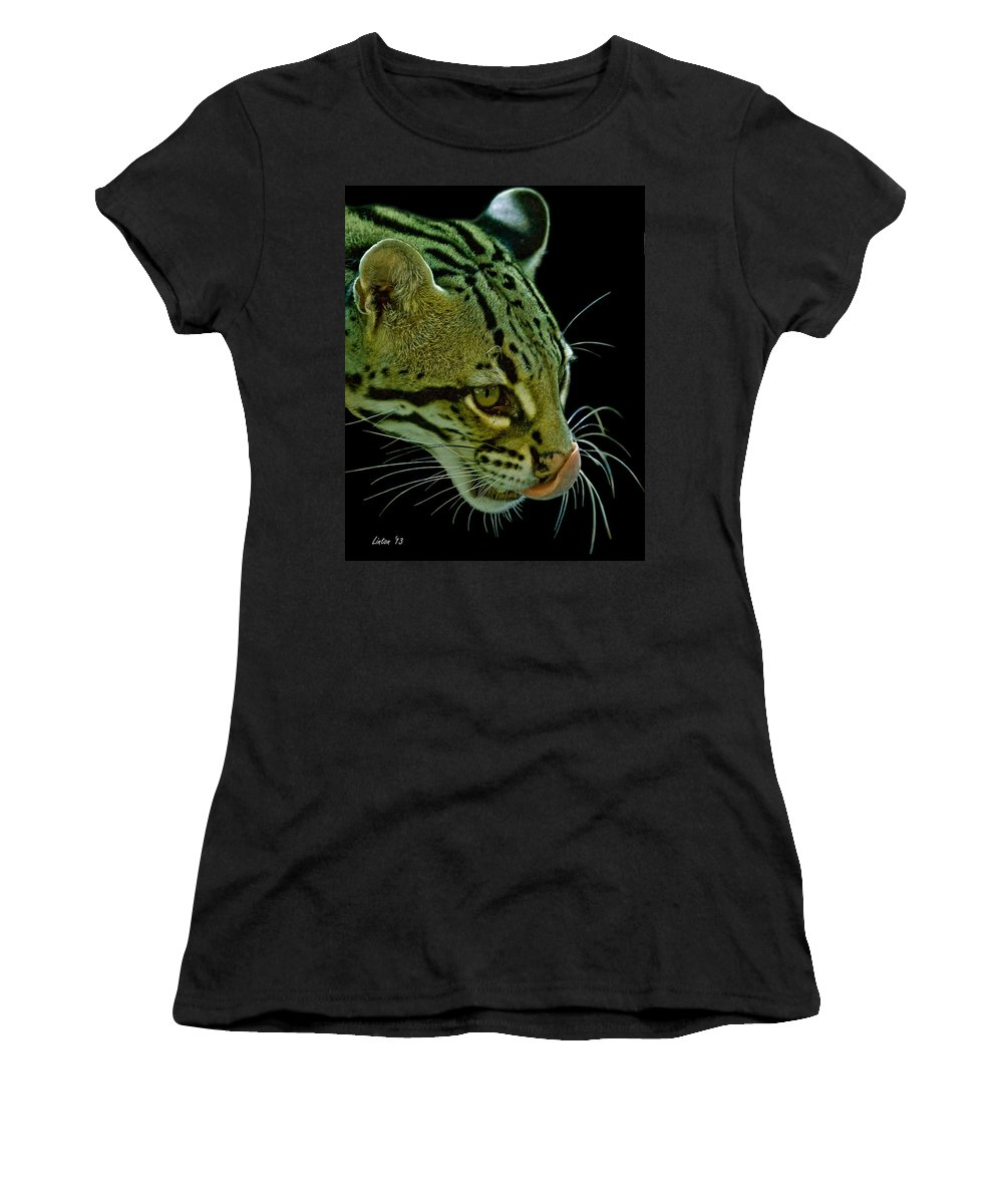 Ocelot Women's T-Shirt (Athletic Fit) featuring the photograph Ocelot by Larry Linton