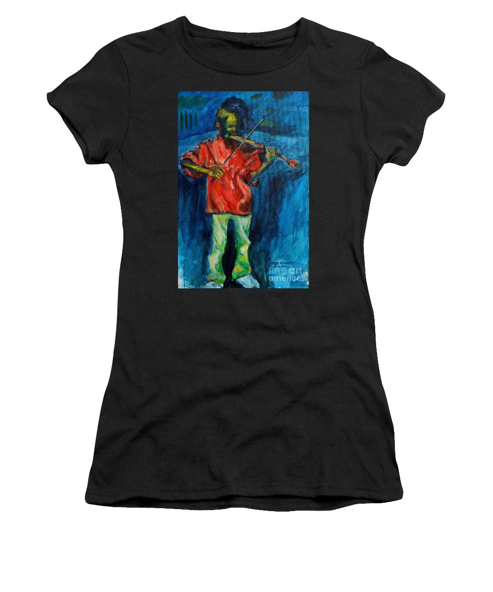 Musician Women's T-Shirt (Athletic Fit) featuring the painting Ode To A King by Charles M Williams