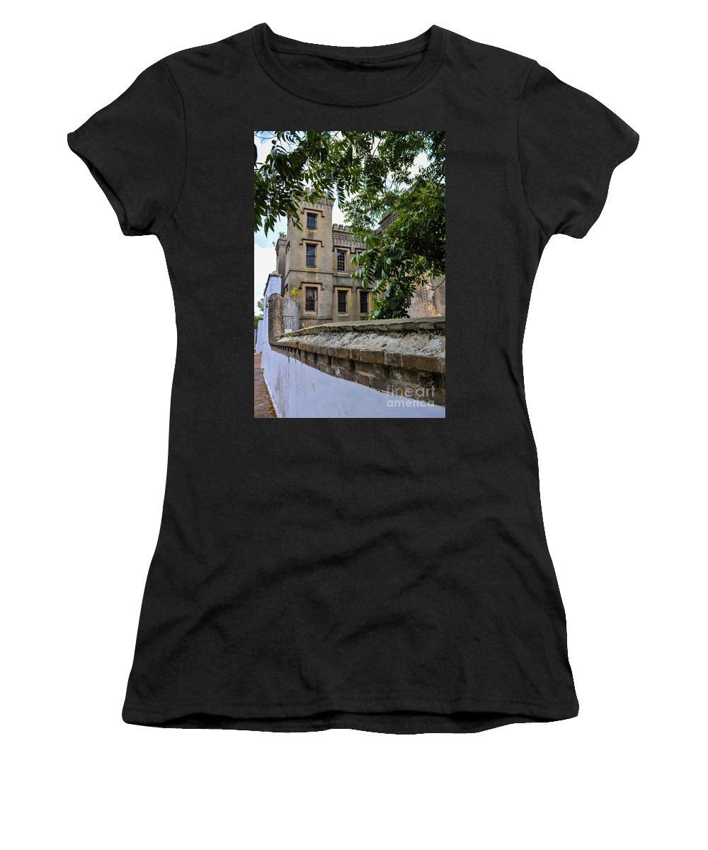 Jail Women's T-Shirt (Athletic Fit) featuring the photograph Peek Through The Tree's Of Old City Jail by Dale Powell