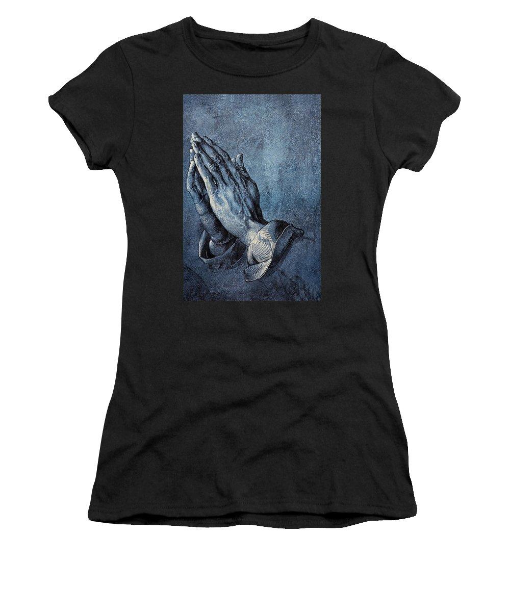 Albrecht Durer Women's T-Shirt (Athletic Fit) featuring the digital art Praying Hands by Albrecht Durer