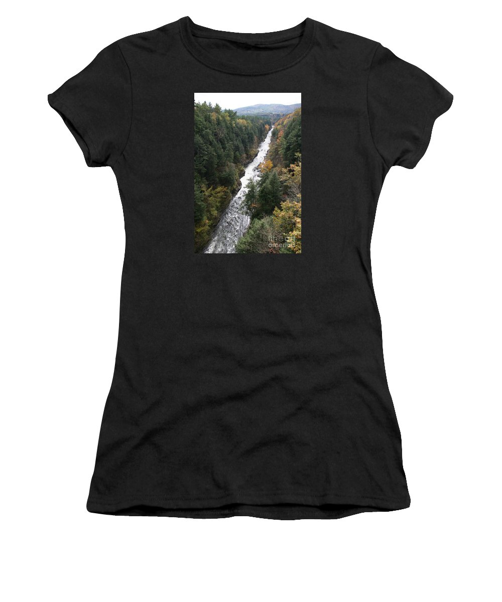 Quechee Gorge Women's T-Shirt featuring the photograph Quechee Gorge by Christiane Schulze Art And Photography
