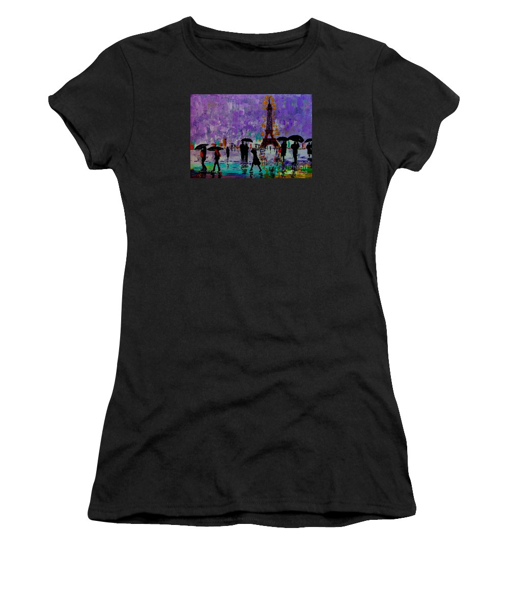 Rain Women's T-Shirt (Athletic Fit) featuring the painting Rain In Paris by Inna Montano