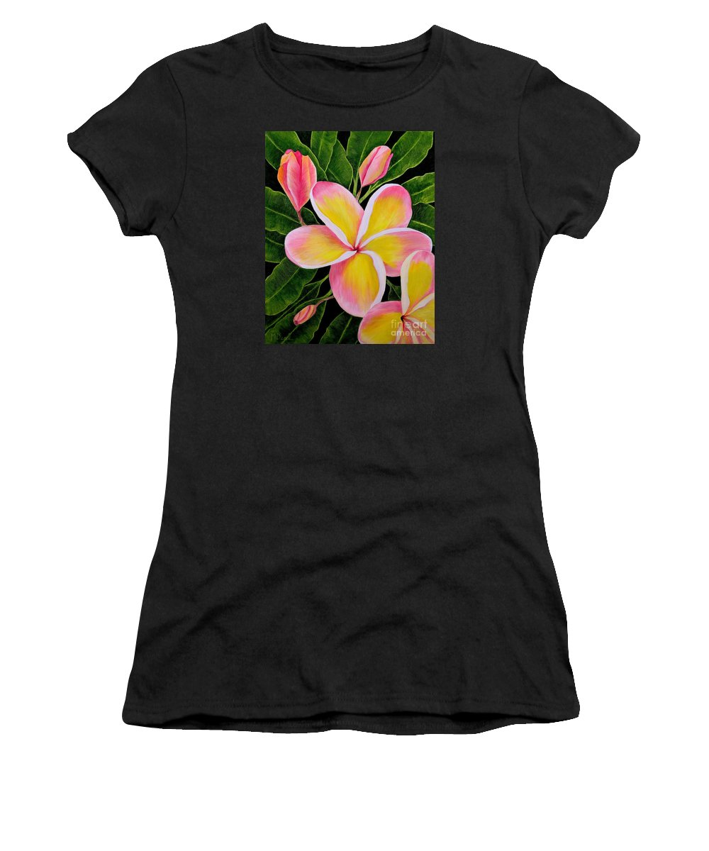 Flowers Women's T-Shirt (Athletic Fit) featuring the painting Rainbow Plumeria by Mary Deal