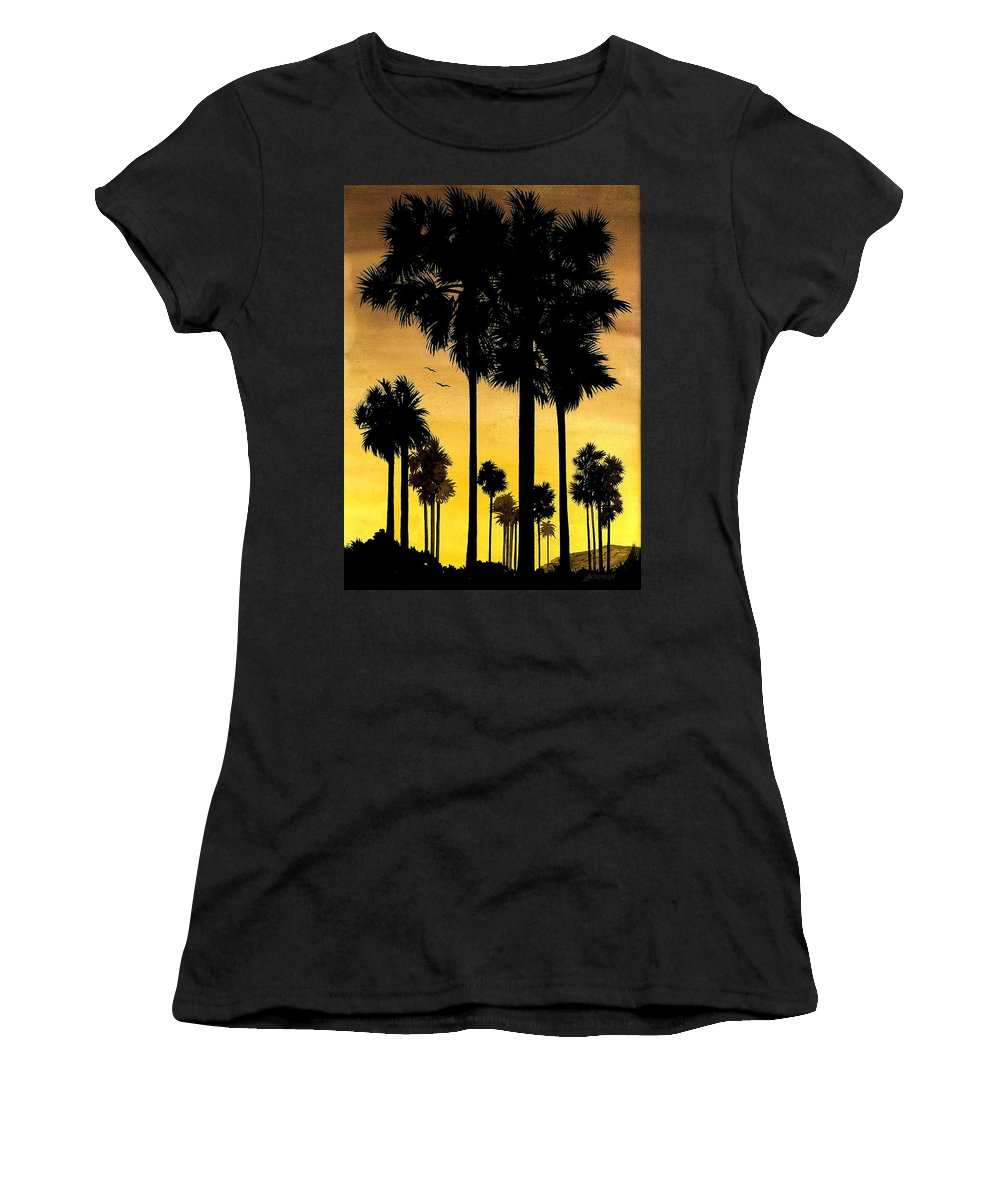 San Diego Sunset Women's T-Shirt (Athletic Fit) featuring the painting San Diego Sunset by Larry Lehman