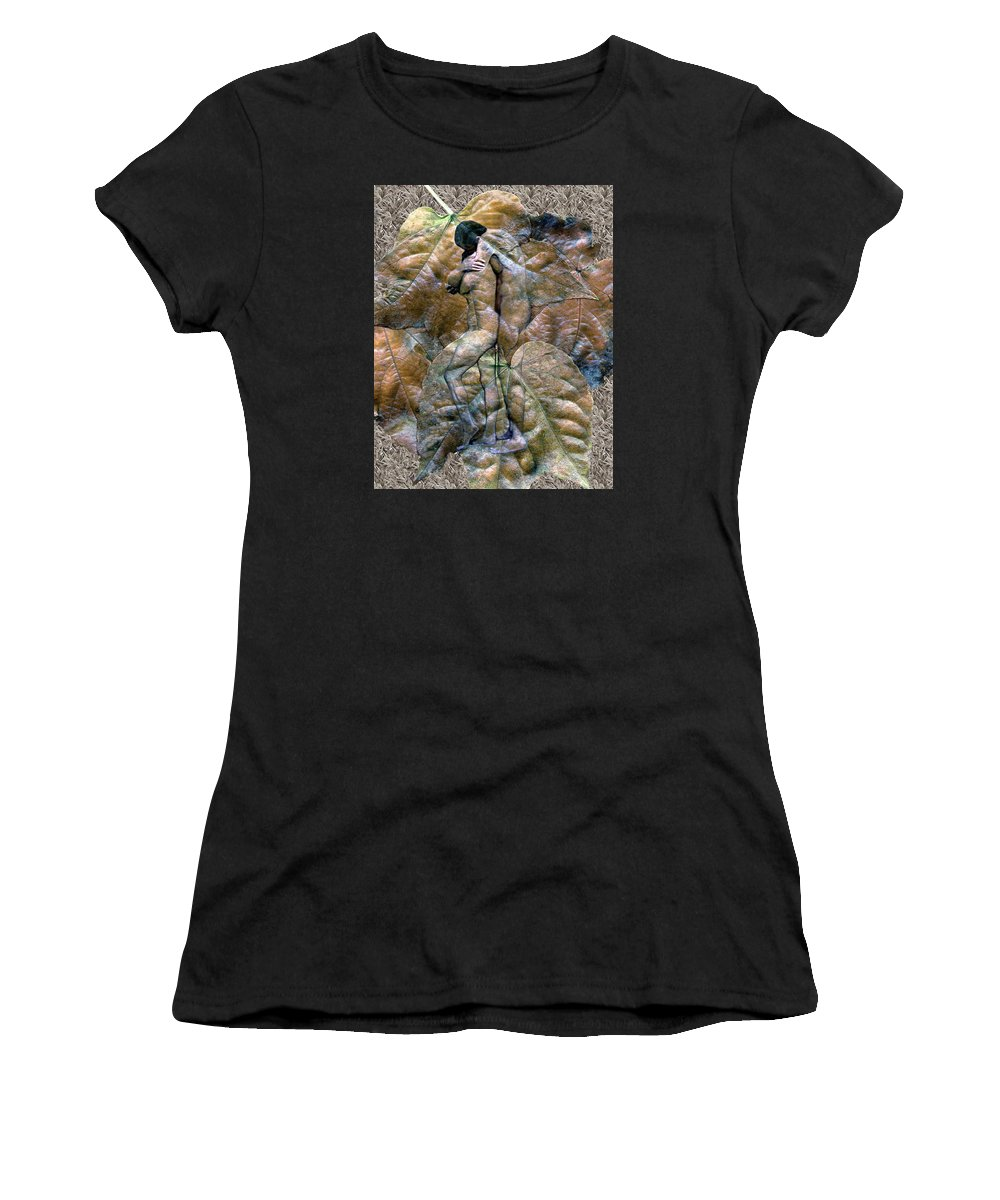 Nudes Women's T-Shirt (Athletic Fit) featuring the photograph Sheltered by Kurt Van Wagner