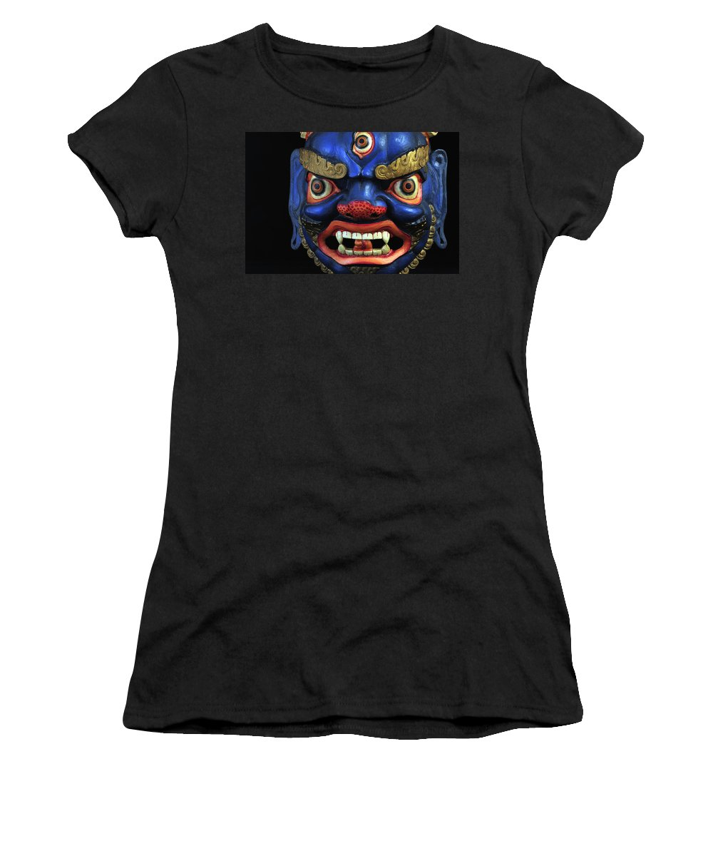 Colorful Women's T-Shirt featuring the photograph Sikkim Dance Mask, India by Theodore Clutter