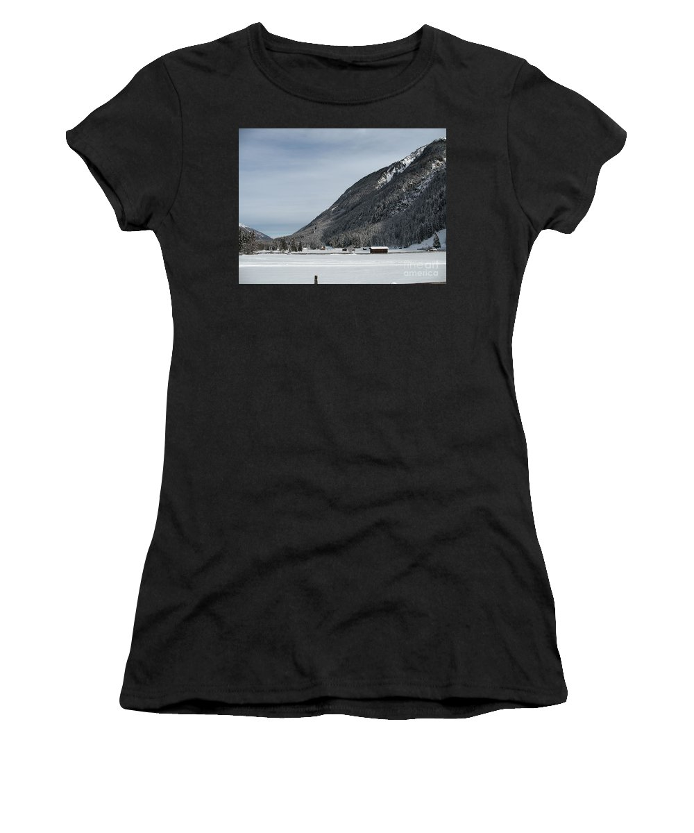 Snow Women's T-Shirt (Athletic Fit) featuring the photograph Snowy Meadow by Christiane Schulze Art And Photography