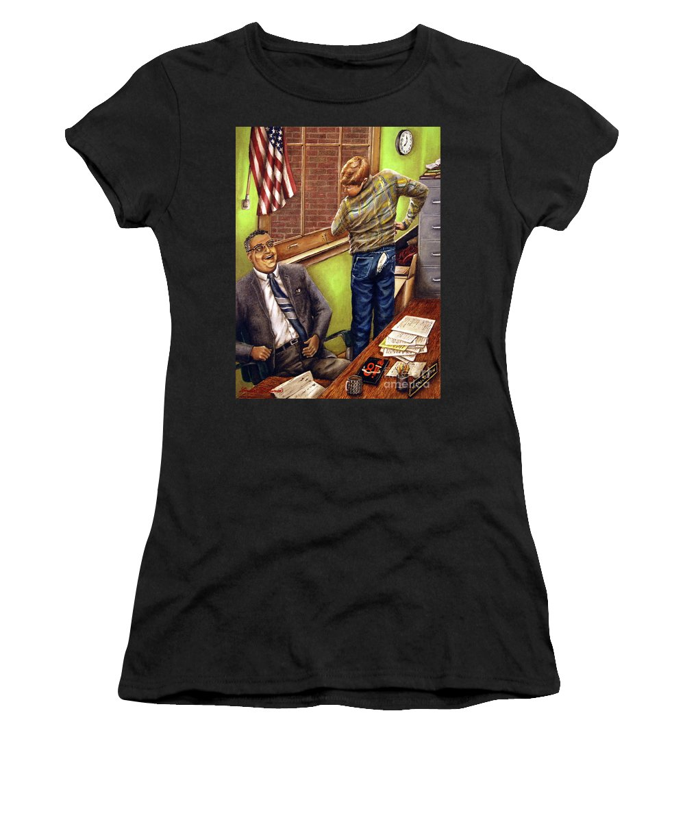 Linda Simon Women's T-Shirt (Athletic Fit) featuring the painting Stars Stripes And Exposure by Linda Simon