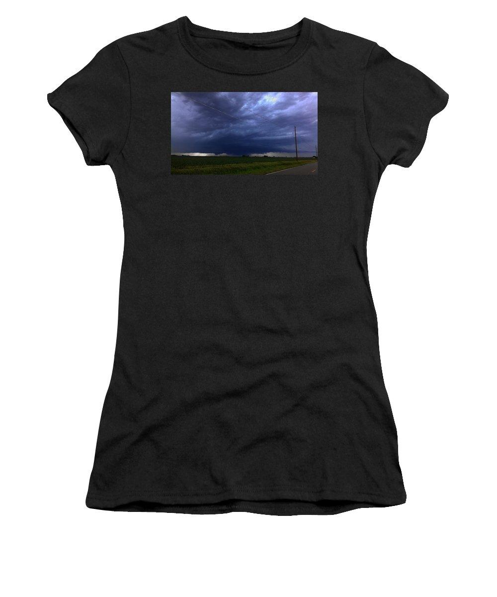 Stormscape Women's T-Shirt featuring the photograph Stong Nebraska Supercells by NebraskaSC