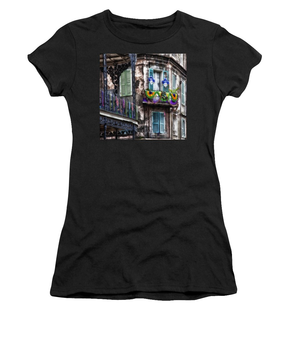 Mardi Gras Women's T-Shirt featuring the photograph The French Quarter During Mardi Gras by Mountain Dreams