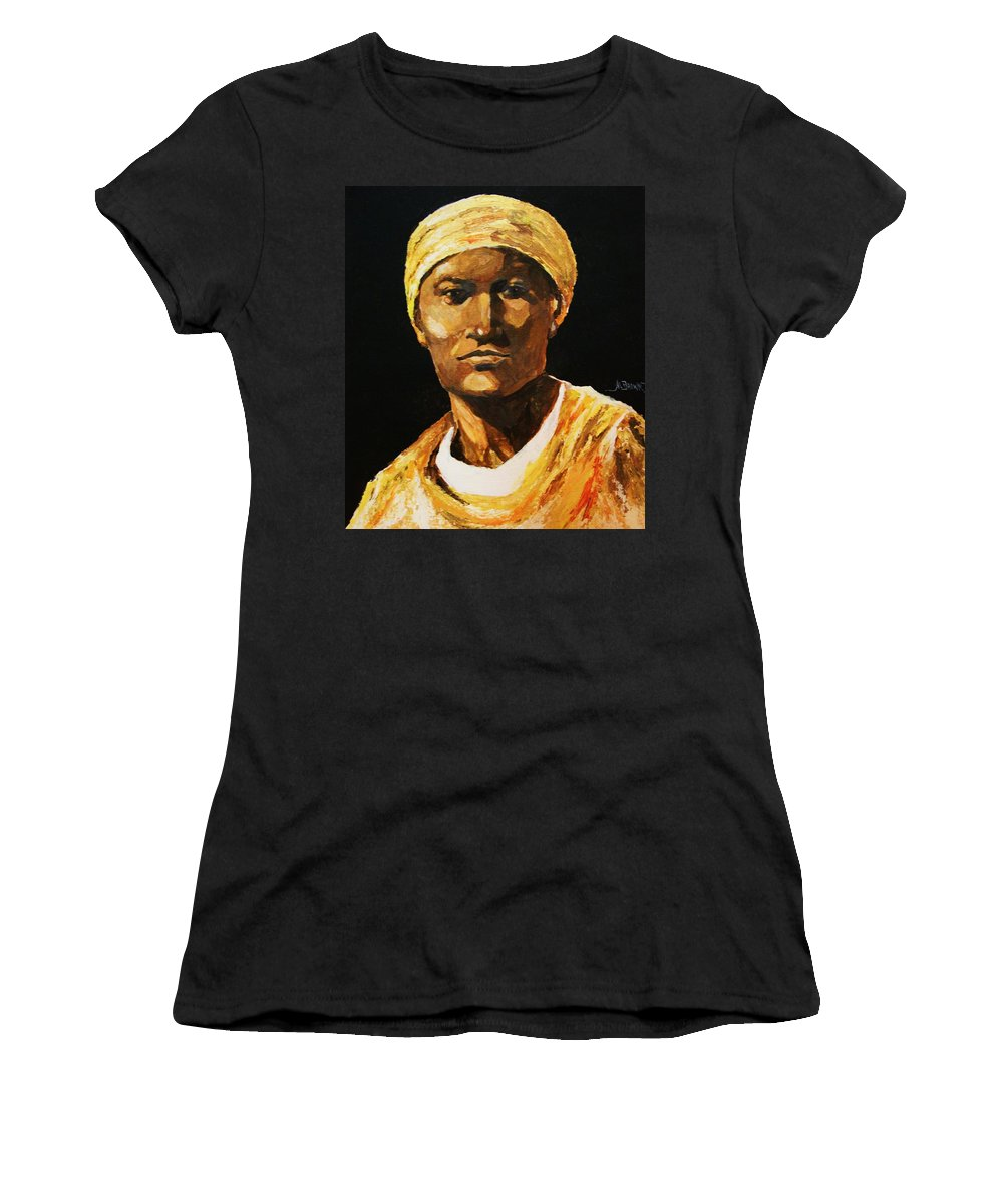 Mens Portraits Women's T-Shirt featuring the painting The Orange Garments by Al Brown