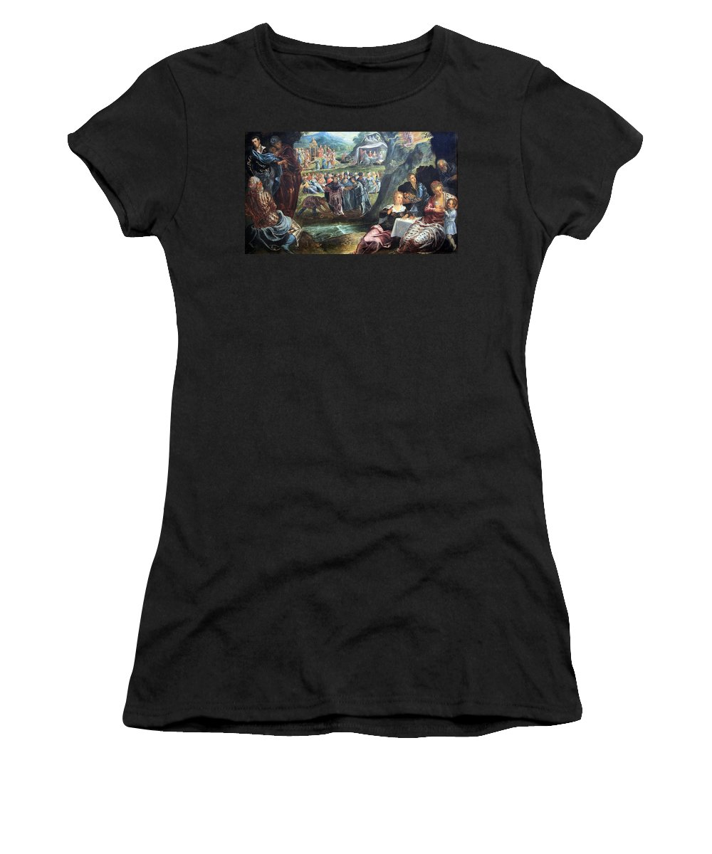 The Worship Of The Golden Calf Women's T-Shirt featuring the photograph Tintoretto's The Worship Of The Golden Calf by Cora Wandel