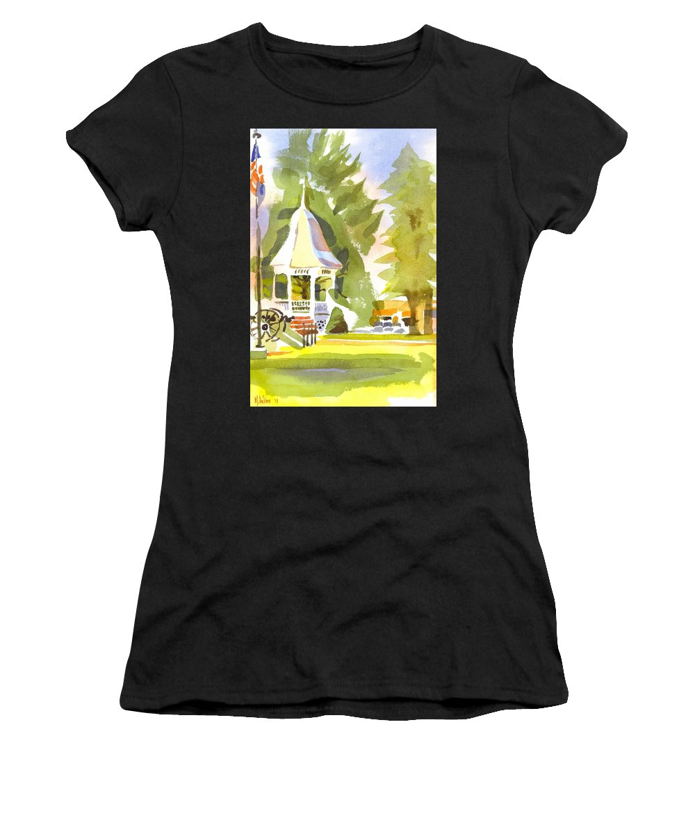 Town Square Women's T-Shirt (Athletic Fit) featuring the painting Town Square by Kip DeVore