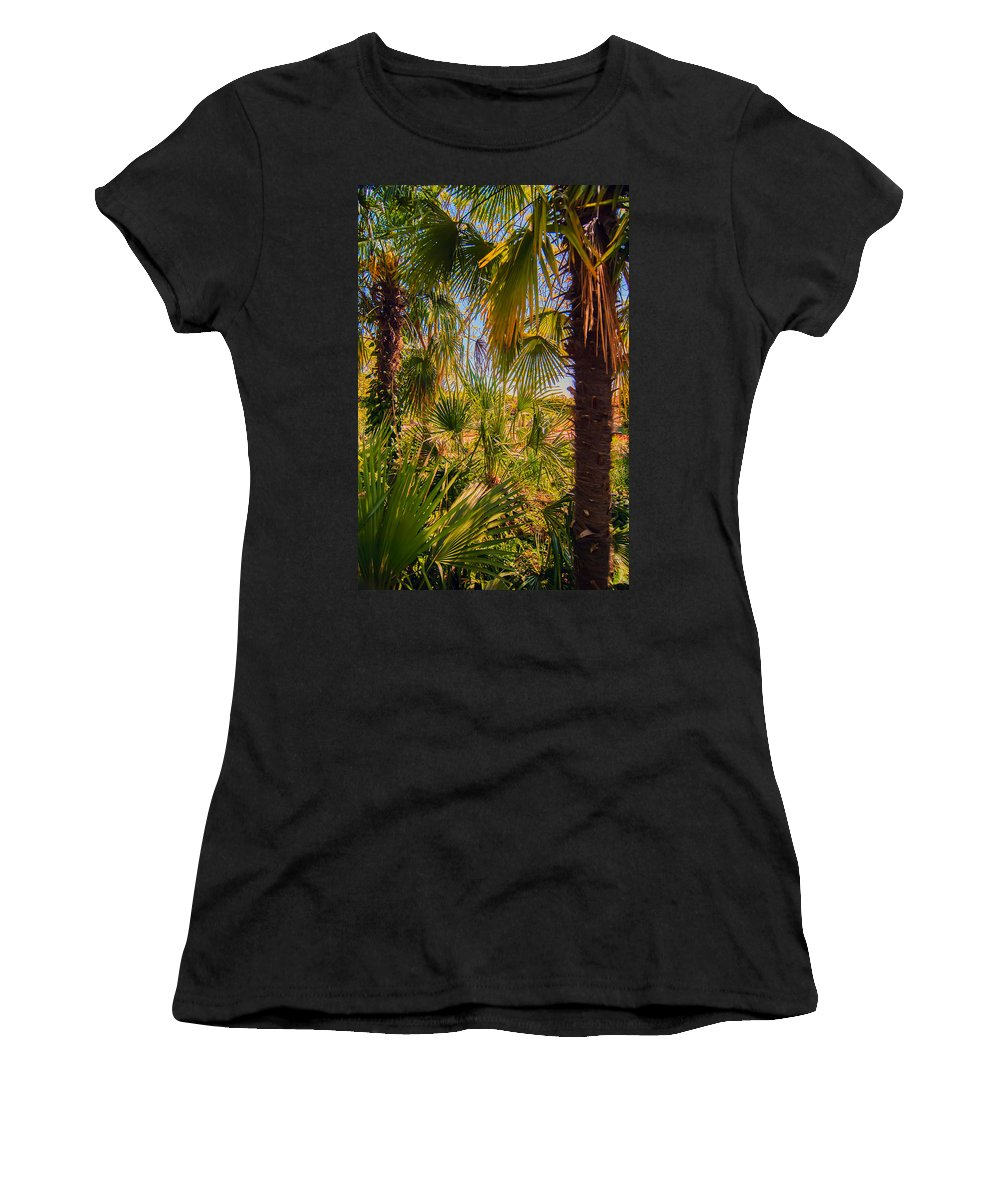 Beam Women's T-Shirt (Athletic Fit) featuring the photograph Tropical Forest Palm Trees In Sunlight by Alex Grichenko