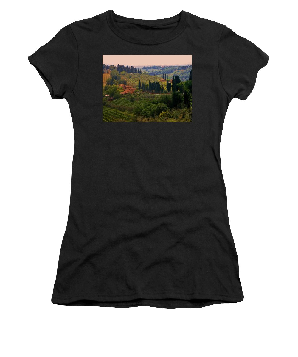 Florence Women's T-Shirt featuring the photograph Tuscan Landscape by Dany Lison
