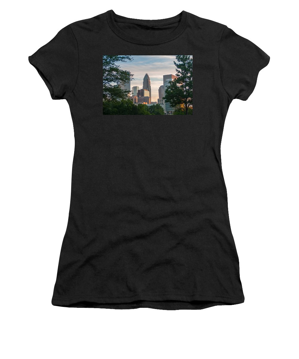America Women's T-Shirt (Athletic Fit) featuring the photograph Uptown Charlotte North Carolina Cityscape by Alex Grichenko