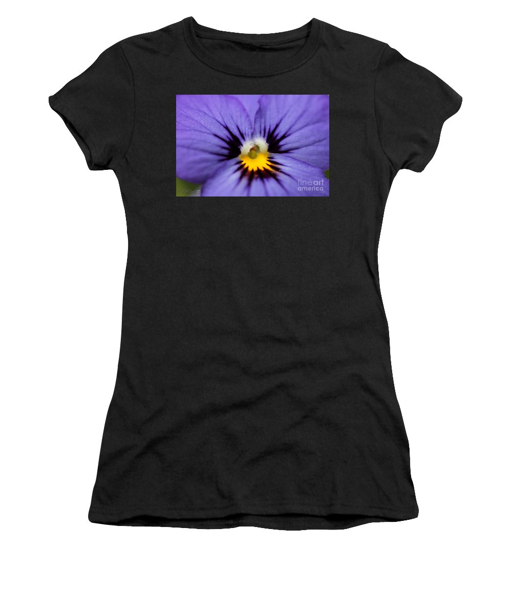 Mccombie Women's T-Shirt (Athletic Fit) featuring the photograph Viola Named Sorbet Blue Heaven Jump-up by J McCombie