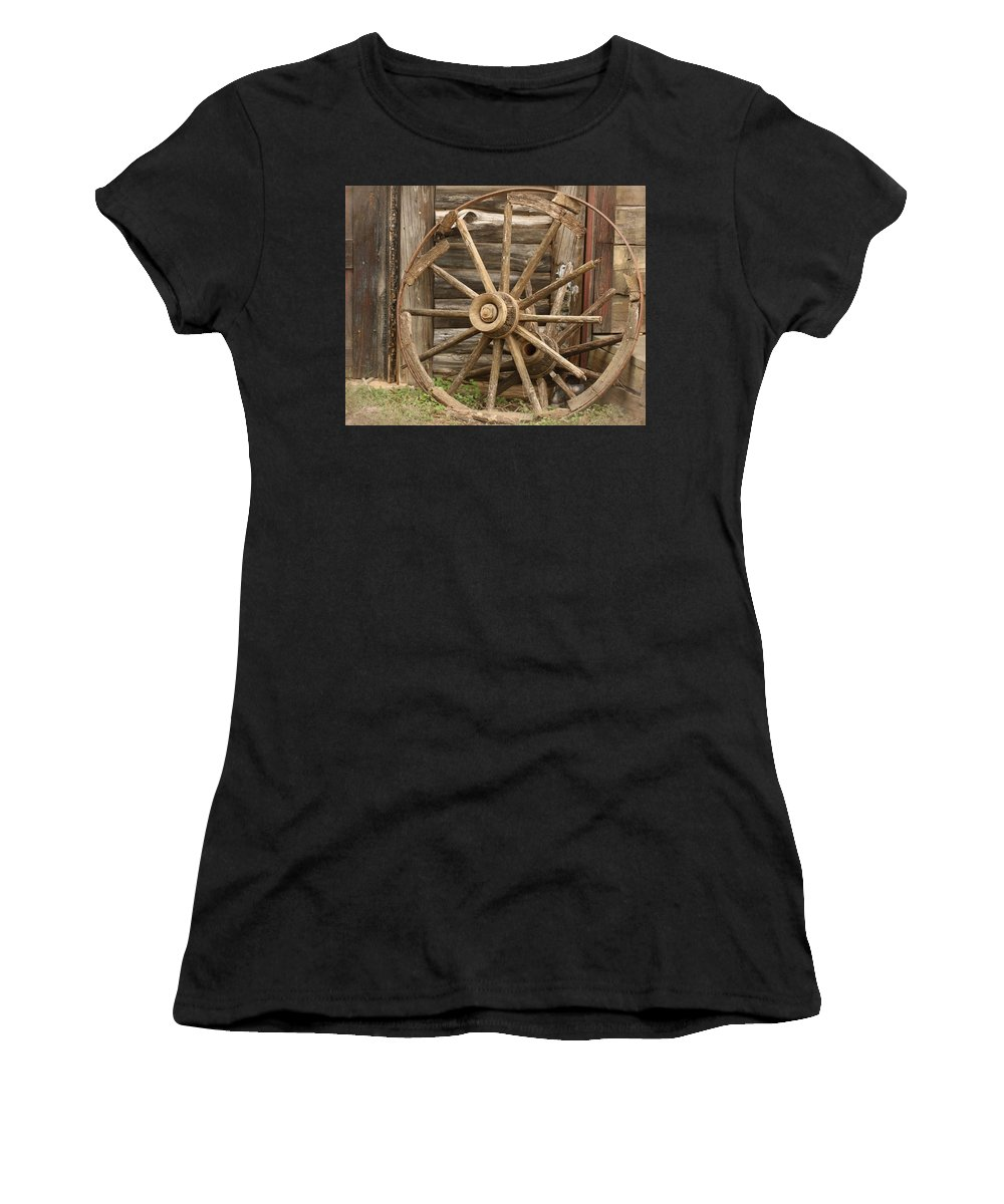 Wagon Wheel Women's T-Shirt (Athletic Fit) featuring the photograph Wagon Wheel by Terry Fleckney
