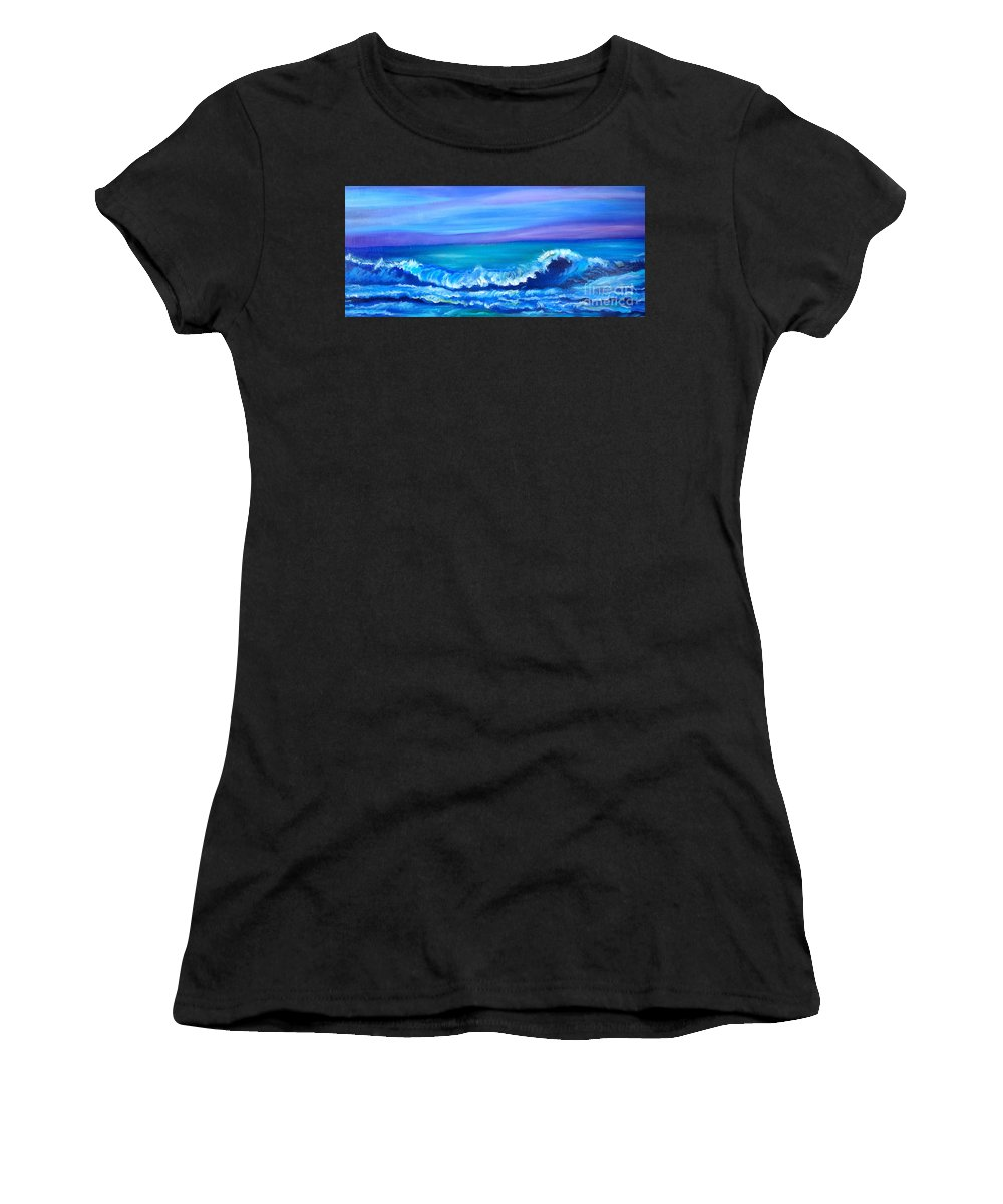 Wave Canvas Print Women's T-Shirt (Athletic Fit) featuring the painting Wave by Jenny Lee