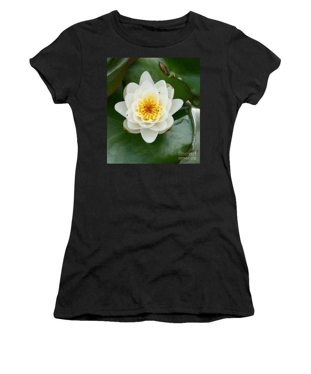 Waterlily Women's T-Shirt (Athletic Fit) featuring the photograph White Waterlily by Christiane Schulze Art And Photography