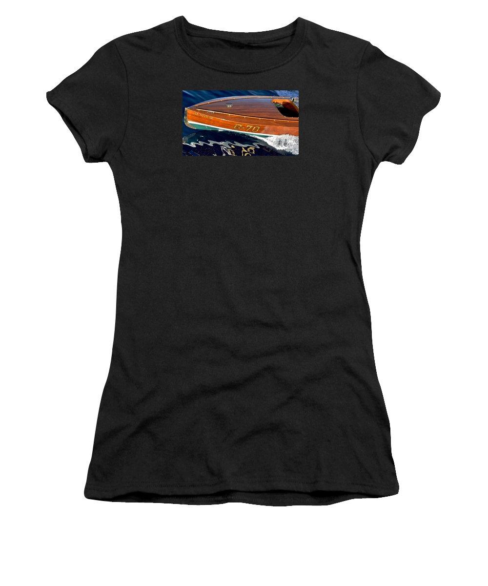 Classic Race Boat Women's T-Shirt (Athletic Fit) featuring the photograph Vintage Ditchburn Racer by Steven Lapkin