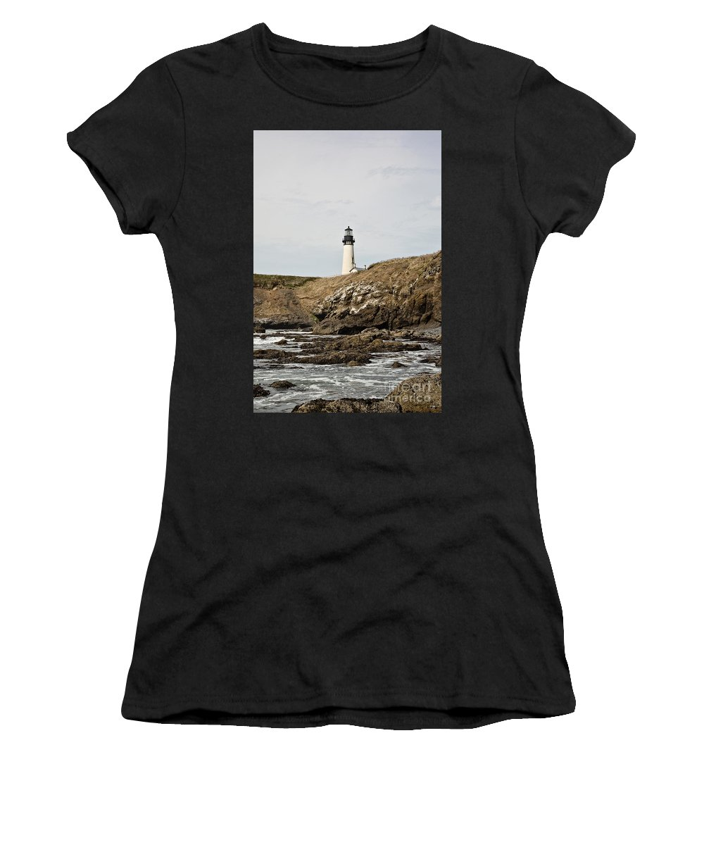 Lighthouse Women's T-Shirt (Athletic Fit) featuring the photograph Yaquina Head Lighthouse - Pov 1 by Scott Pellegrin