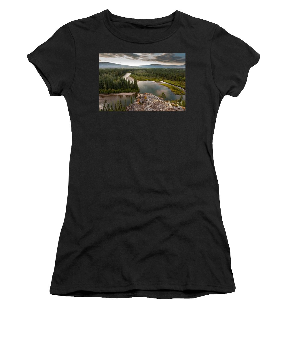 Beautiful Women's T-Shirt (Athletic Fit) featuring the photograph Yukon Canada Taiga Wilderness And Mcquesten River by Stephan Pietzko