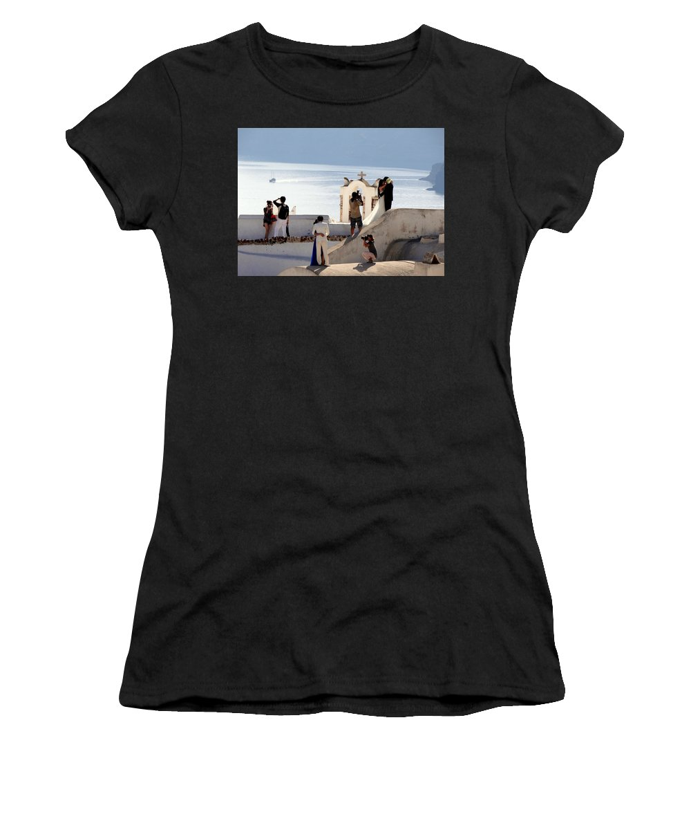 Santorini Women's T-Shirt featuring the photograph The Shoot On Santorini In Greece by Richard Rosenshein