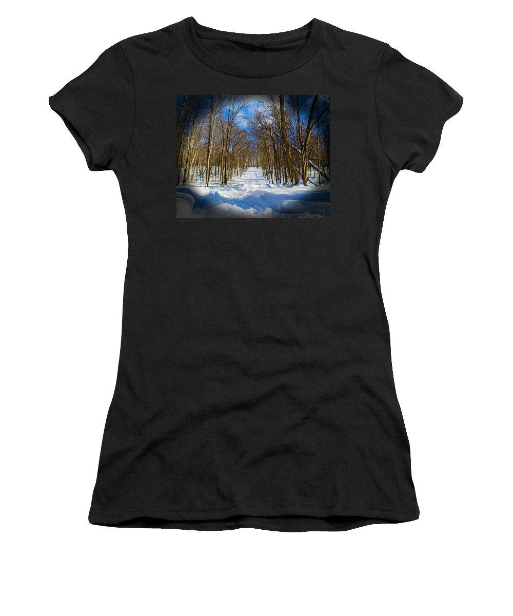 Moon Lake Women's T-Shirt featuring the photograph 2015 02 22 02 B 8 2106 by Mark Olshefski