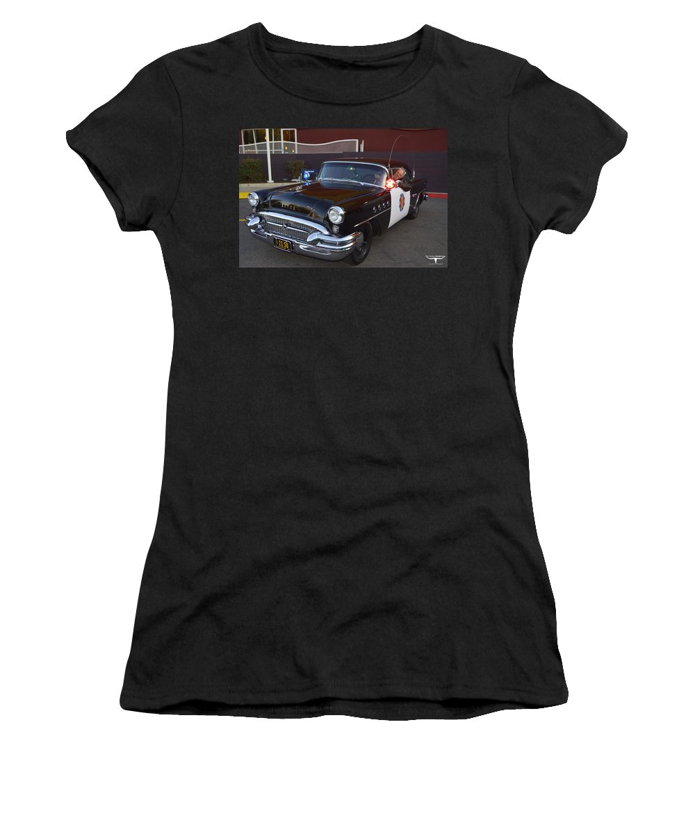 1955 Buick Highway Patrol Women's T-Shirt (Athletic Fit) featuring the photograph 2150 To Headquarters by Tommy Anderson