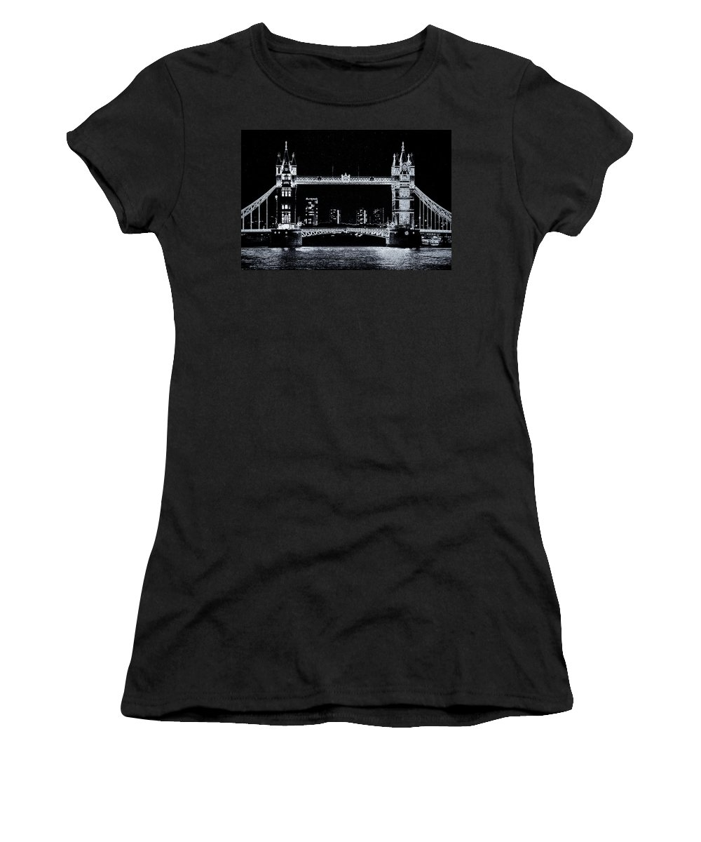 Bridge Women's T-Shirt featuring the digital art Tower Bridge Art by David Pyatt