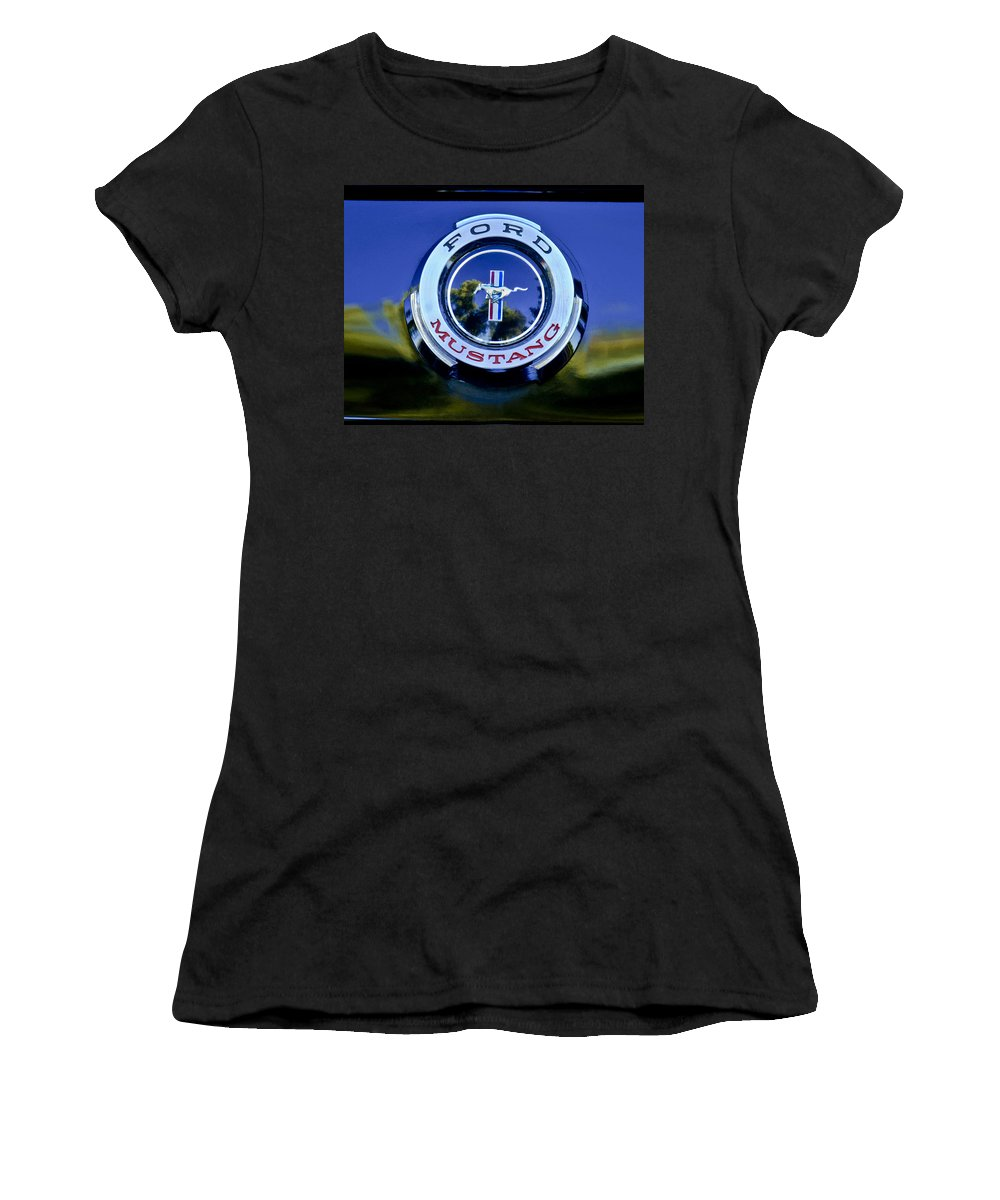 1965 Ford Mustang Women's T-Shirt featuring the photograph 1965 Shelby Prototype Ford Mustang Emblem by Jill Reger