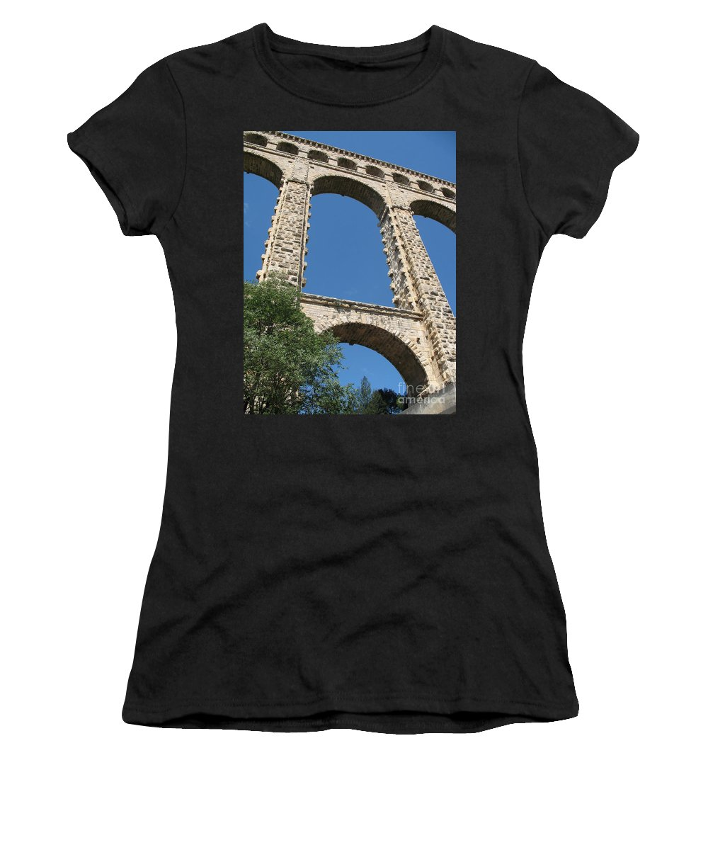 Aqueduct Women's T-Shirt (Athletic Fit) featuring the photograph Aqueduct Roquefavour by Christiane Schulze Art And Photography