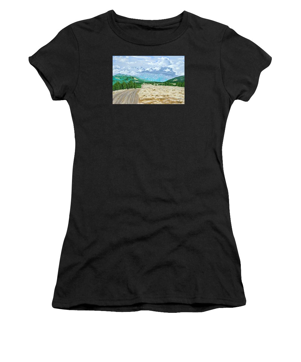 Dirt Road Women's T-Shirt featuring the painting Country Road by John Wilson