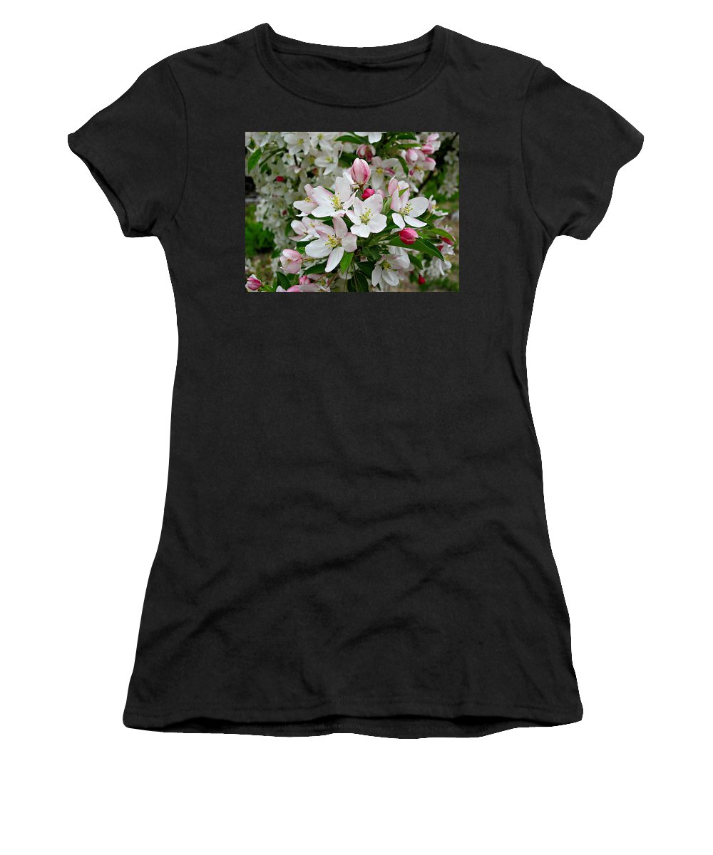 Sugar Tyme Crabapple Women's T-Shirt (Athletic Fit) featuring the photograph Crabapple Blossoms by MTBobbins Photography