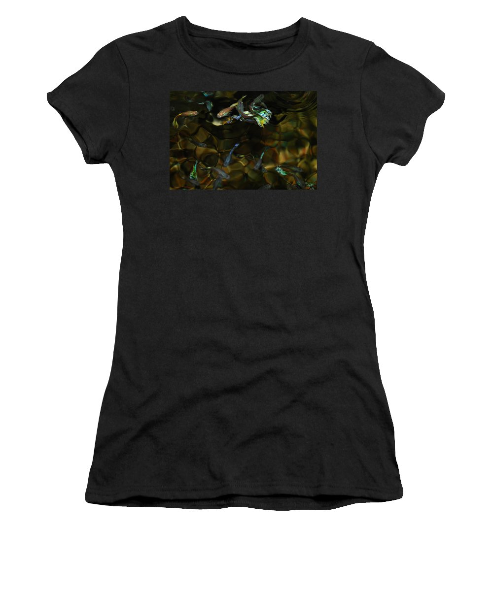 Taken Through Side Of Aquarium Women's T-Shirt (Athletic Fit) featuring the photograph Fancy Guppys by Robert Floyd