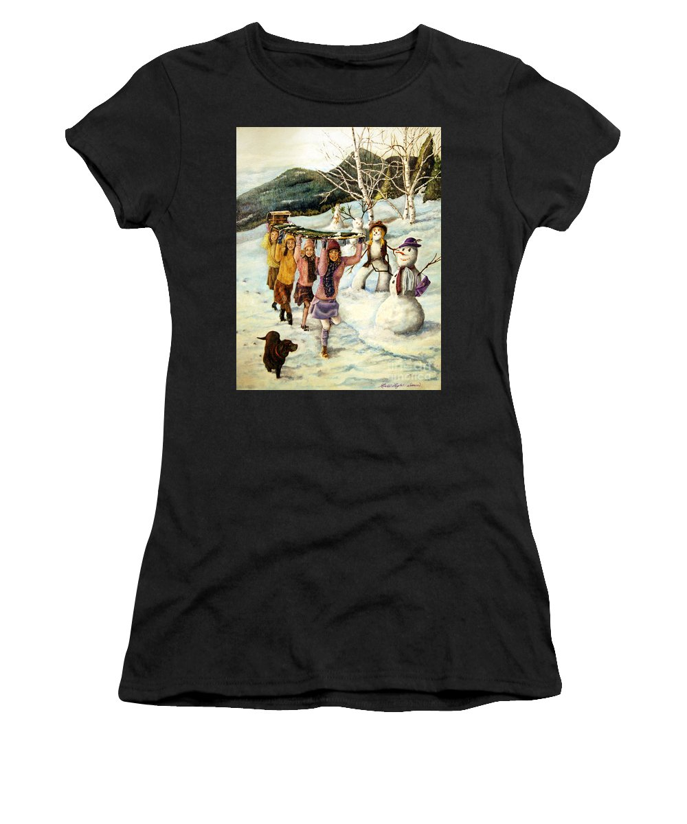 Dog Women's T-Shirt featuring the painting Frosty Frolic by Linda Simon